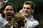 Real Madrid's Roberto Carlos is congratulated by teammates Iker Casillas and Alvaro Mejia after Roberto Carlos scored during Spain La Liga match between Real Madrid and Athletic de Bilbao at Santiago Bernabeu stadium in Madrid, Sunday December 03, 2006. (ALTERPHOTOS/Alvaro Hernandez).