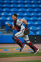 Florida Fire Frogs catcher Rusber Estrada (12) during a Florida State League game against the St. Lucie Mets on April 12, 2019 at First Data Field in St. Lucie, Florida.  Florida defeated St. Lucie 10-7.  (Mike Janes/Four Seam Images)