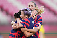 KASHIMA, JAPAN - AUGUST 5: Carli Lloyd #10 of the United States celebrates scoring with teammates during a game between Australia and USWNT at Kashima Soccer Stadium on August 5, 2021 in Kashima, Japan.