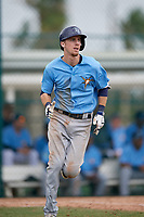 Tampa Bay Rays shortstop Matt Duffy (5) runs to first base during an Instructional League game against the Pittsburgh Pirates on October 3, 2017 at Pirate City in Bradenton, Florida.  (Mike Janes/Four Seam Images)