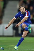 13th July 2021; AAMI Park, Melbourne, Victoria, Australia; International test rugby, Australia versus France; Melvyn Jaminet of France kicks the penalty