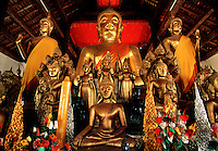The Buddha Alter at the Wat Wisunalat Temple, Luang Phabang, Laos.