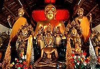 The Buddha Alter at the Wat Wisunalat Temple, Luang Phabang, Laos.