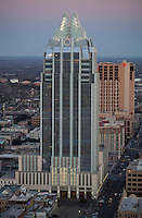 Austin skyline and Frost Bank Tower are a testiment to Austin's ultra high-tech modern Texas city.