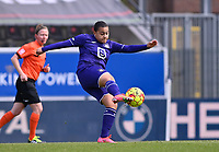 Mariam Abdulai Toloba (19) of Anderlecht pictured shooting towards goal during a female soccer game between Oud Heverlee Leuven and RSC Anderlecht on the 2nd matchday of play off 1 in the 2020 - 2021 season of Belgian Womens Super League , saturday 17 th of April 2021  in Heverlee , Belgium . PHOTO SPORTPIX.BE | SPP | DAVID CATRY