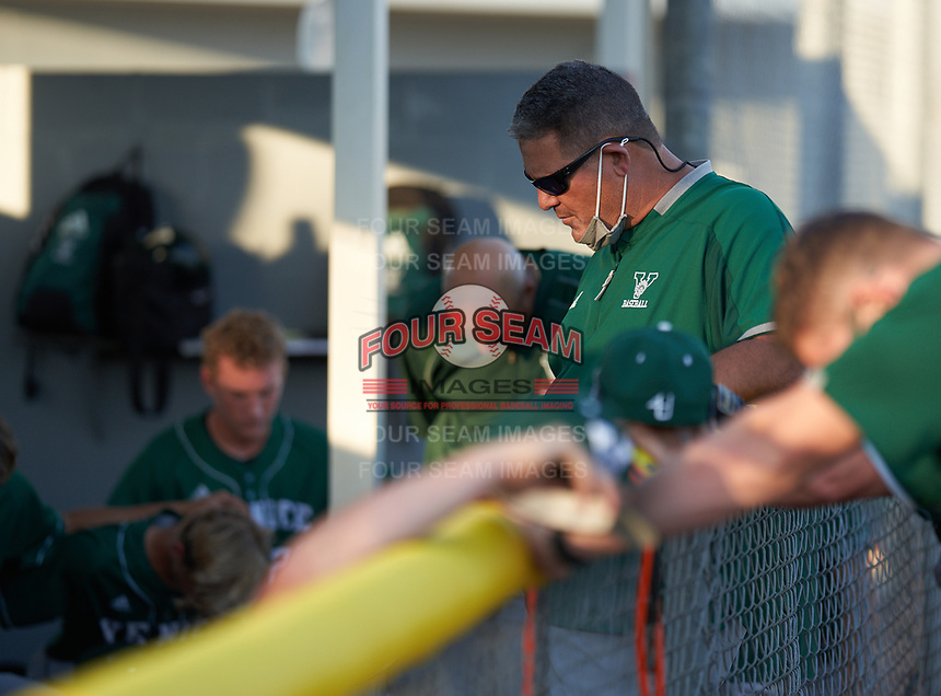 Venice Indians hitting coach Craig Faulkner during a team meeting before a game against the Braden River Pirates on February 25, 2021 at Braden River High School in Bradenton, Florida.  (Mike Janes/Four Seam Images)