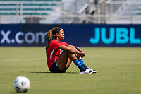CARY, NC - SEPTEMBER 12: Jessica McDonald #14 of the NC Courage spends a quiet moment alone before a game between Portland Thorns FC and North Carolina Courage at WakeMed Soccer Park on September 12, 2021 in Cary, North Carolina.