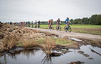 Aude Biannic (FRA/Movistar) preceding Lotte Kopecky (BEL/Liv Racing), Marianne Vos (NED/Jumbo Visma) & Christine Majerus (LUX/SD Worx)<br /> <br /> Inaugural Paris-Roubaix Femmes 2021 (1.WWT)<br /> One day race from Denain to Roubaix (FRA)(116.4km)<br /> <br /> ©kramon