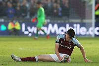 Declan Rice of West Ham awaits treatment after suffering an injury during West Ham United vs Brentford, Premier League Football at The London Stadium on 3rd October 2021