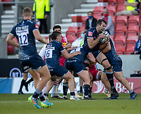 4th June 2021; AJ Bell Stadium, Salford, Lancashire, England; English Premiership Rugby, Sale Sharks versus Harlequins; Josh Beaumont of Sale Sharks grabs the ball