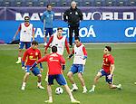 Spain's coach Vicente del Bosque, Pedro Rodriguez, Hector Bellerin, David Jimenez Silva, Sergio Busquets, Bruno Soriano and Marc Bartra during training session previous friendly match. May 31,2016.(ALTERPHOTOS/Acero)