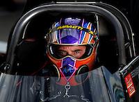 Oct. 31, 2008; Las Vegas, NV, USA: NHRA top fuel dragster driver Mike Strasburg during qualifying for the Las Vegas Nationals at The Strip in Las Vegas. Mandatory Credit: Mark J. Rebilas-