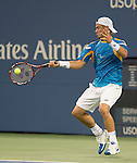 Lleyton Hewitt (AUS) battles Juan Martin Del Potro at the US Open being played at USTA Billie Jean King National Tennis Center in Flushing, NY on August 30, 2013