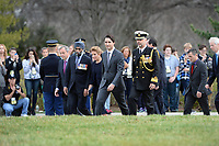 Accompanied by his wife, Sophie Gre'goire-Trudeau, the Right Honorable Justin Trudeau, Prime Minister of Canada, lays a wreath at the Canadian Cross of Sacrifice at Arlington National Cemetery, Virginia.  In honor of Prime Minister Trudeau official visit to the United States, The Prime Minister also laid a wreath at the Tomb of the Unknowns.  (Department of Defense photo by Marvin Lynchard)