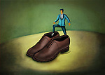 Illustration of businessman stepping in large shoes representing huge responsibilities
