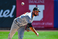 El Paso Chihuahuas  starting pitcher Carlos Pimentel (27) warms up in the bullpen before the game against the Salt Lake Bees in Pacific Coast League action at Smith's Ballpark on April 24, 2016 in Salt Lake City, Utah. This was Game 1 of a double-header.  El Paso defeated Salt Lake 7-0. (Stephen Smith/Four Seam Images)