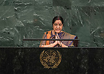 72 General Debate – 23rd of September  2017<br /> <br /> Her Excellency Sushma SWARAJ<br /> <br /> Minister for External Affairs of the<br /> REPUBLIC OF INDIA