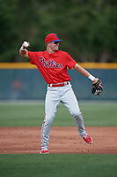 Philadelphia Phillies Curtis Mead (38) during a minor league Spring Training game against the Pittsburgh Pirates on March 13, 2019 at Pirate City in Bradenton, Florida.  (Mike Janes/Four Seam Images)