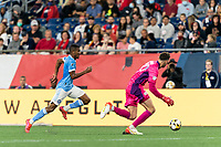 FOXBOROUGH, MA - SEPTEMBER 11: Thiago Andrade #8 of New York City FC on the attack as Matt Turner #30 of New England Revolution reacts during a game between New York City FC and New England Revolution at Gillette Stadium on September 11, 2021 in Foxborough, Massachusetts.