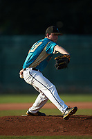Mooresville Spinners starting pitcher Jake Landis (28) (Pfeiffer University) in action against the Concord A's at Moor Park on July 31, 2020 in Mooresville, NC. The Spinners defeated the Athletics 6-3 in a game called after 6 innings due to rain. (Brian Westerholt/Four Seam Images)