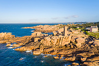 France, Cotes d'Armor, Cote de granit rose (Pink Granite Coast), Perros Guirec, Ploumanac'h, Pointe de Squeouel, Ploumanac'h or Mean Ruz lighthouse (aerial view) // France, Côtes-d'Armor (22), Côte de Granit Rose, Perros-Guirec, Ploumanac'h, pointe de Squéouel, phare de Men-Ruz (vue aérienne)