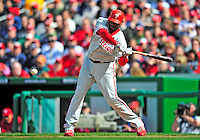 13 April 2009: Philadelphia Phillies' first baseman Ryan Howard at bat against the Washington Nationals during the Nationals' Home Opener at Nationals Park in Washington, DC. The Nats fell short in their 9th inning rally, losing 9-8, as the visiting Phillies handed the Nats their 7th consecutive loss of the 2009 season. Mandatory Credit: Ed Wolfstein Photo