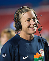 Abby Wambach comments on the game for TV. The US Women's National Team defeated the Canadian Women's National Team, 4-0, at BMO Field in Toronto during an international friendly soccer match on May 25, 2009.