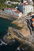France, Pyrénées-Atlantiques (64), Pays-Basque, Guéthary:  Port de Guéthary - Le port, fortement incliné pour hisser les baleines - vue aérienne // France, Pyrenees Atlantiques, Basque Country, Guethary: The port, strongly inclined to hoist the whales - Aerial view