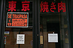 Poster announcing the transfer of business in an oriental restaurant in Madrid during the health crisis due to the Covid-19 virus pandemic - Coronaviruss. April 26,2020. (ALTERPHOTOS/Jesus Anton JAM)
