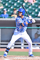 Tennessee Smokies right fielder Jacob Hannemann (19) awaits a pitch during a game against the Birmingham Barons on August 2, 2015 in Kodak, Tennessee. The Smokies defeated the Barons 5-2. (Tony Farlow/Four Seam Images)