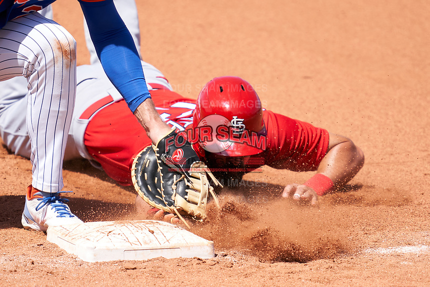 St. Louis Cardinals Matt Carpenter (13) dives back into first base on a pickoff attempt during a Major League Spring Training game against the New York Mets on March 19, 2021 at Clover Park in St. Lucie, Florida.  (Mike Janes/Four Seam Images)
