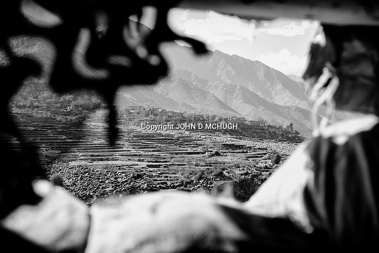 Saw village is seen from Checkpoint 2.5, in Kunar province, 02 Dec 2011. (John D McHugh)