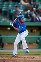 South Bend Cubs left fielder Kevonte Mitchell (25) at bat during a game against the Clinton LumberKings on May 5, 2017 at Four Winds Field in South Bend, Indiana.  South Bend defeated Clinton 7-6 in nineteen innings.  (Mike Janes/Four Seam Images)