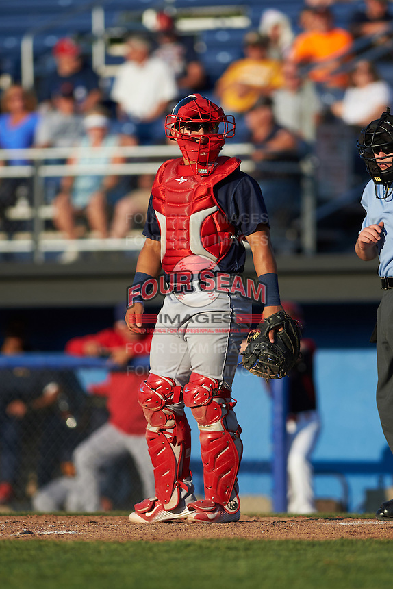 State College Spikes catcher Jeremy Martinez (41) during a game against the Batavia Muckdogs on June 24, 2016 at Dwyer Stadium in Batavia, New York.  State College defeated Batavia 10-3.  (Mike Janes/Four Seam Images)