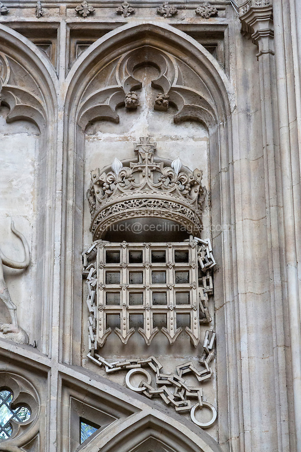 UK, England, Cambridge.  King's College Chapel, Crown and Portcullis, Symbol of the Beaufort Family, Mother of Henry VII.
