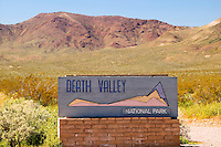 The sign at the Beatty enterance on Highway 374, Death Valley National Park, California