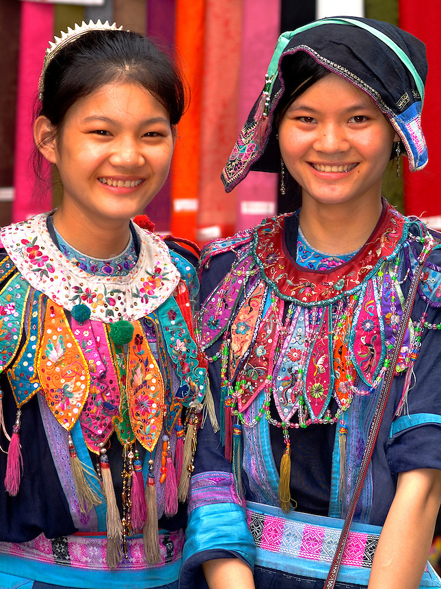 Two young women in traditional costume in Yangshuo China
