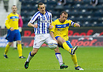 Kilmarnock v St Johnstone...01.10.11   SPL Week 10.James Fowler tackles Jody Morris.Picture by Graeme Hart..Copyright Perthshire Picture Agency.Tel: 01738 623350  Mobile: 07990 594431
