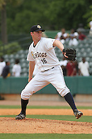 Charleston Riverdogs relief pitcher John Brebbia #16 on the mound during a game against the Savannah Sand Gnats at Joseph P. Riley Jr. Park on May 16, 2012 in Charleston, South Carolina. Charleston defeated Savannah by the score of 14-5. (Robert Gurganus/Four Seam Images)