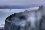 Crown Point Vista House in the Clouds and Fog on a Spring Morning Columbia River Gorge Oregon