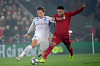 LIVERPOOL, GREAT BRITAN - NOVEMBER 5 : Alex Oxlade Chamberlain midfielder of Liverpool battles for the ball with Sander Boli Berge midfielder of Genk during the UEFA Champions League match between Liverpool FC and KRC Genk on November 05, 2019 in Liverpool, Great Britan, 5/11/2019 <br /> Liverpool 5-11-2019 Anfield <br /> Liverpool - Genk <br /> Champions League 2019/2020<br /> Foto Photonews / Panoramic / Insidefoto <br /> Italy Only