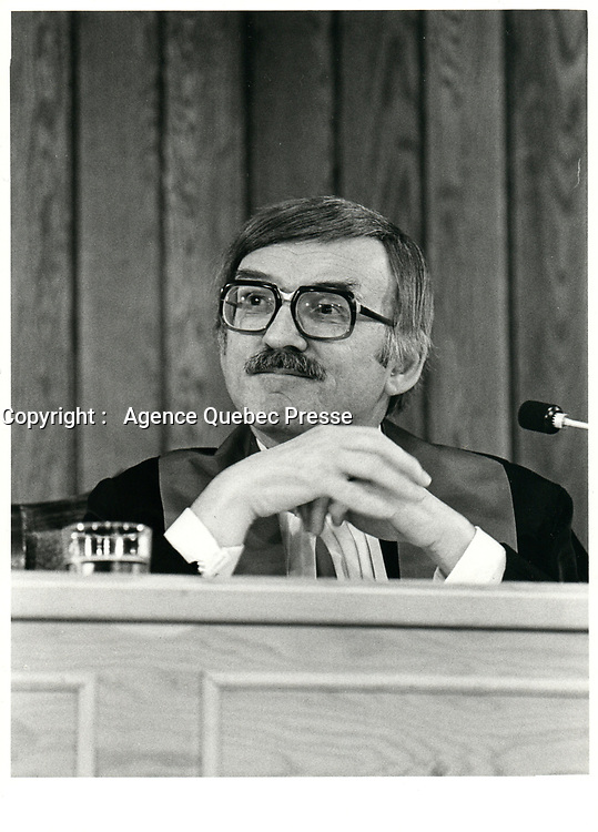 File Photo  -  Jules Deschenes ,Chief Justice of the Quebec Superior Court, May 10 1980.<br /> <br /> From 1993 to 1997, he sat on the International Criminal Tribunal for the former Yugoslavia.<br /> <br /> He passed away May 10, 2000<br /> <br /> <br /> <br /> <br /> <br /> <br /> <br /> <br /> Le juge Jules Deschesnes<br /> mai 1978<br /> <br /> <br /> PHOTO : JJ Raudsepp  - Agence Quebec presse