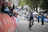 Anne-Sophie Duyck (BEL) finishing<br /> <br /> Women Elite Individual Time Trial<br /> <br /> UCI 2017 Road World Championships - Bergen/Norway