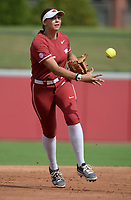 Arkansas third baseman Spencer Prigge tosses the ball to the mound after making a catch Saturday, Oct. 9, 2021, during play against Butler Community College at Bogle Park in Fayetteville. Visit nwaonline.com/211010Daily/ for today's photo gallery.<br /> (NWA Democrat-Gazette/Andy Shupe)