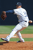 Asheville Tourists Juan Perez #30 delivers a pitch during a game against  the Lexington Legends at McCormick Field in Asheville,  North Carolina;  April 17, 2011. Lexington defeated Aheville 18-9.  Photo By Tony Farlow/Four Seam Images