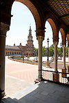 Plaza de Espana designed by Anibal Gonzalez was built in 1928 for the Ibero- American Exposition of 1929 is located in the Maria Luisa Park in Seville, Spain.