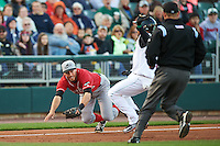 Great Lakes Loons third baseman Mike Ahmed (11) dives to tag Ronald Bueno (4) during a game against the Dayton Dragons on May 21, 2015 at Fifth Third Field in Dayton, Ohio.  Bueno was called safe as the Great Lakes defeated Dayton 4-3.  (Mike Janes/Four Seam Images)