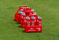 HOUSTON, TX - JUNE 12: BioSteel bottles sit on the field during a training session at University of Houston on June 12, 2021 in Houston, Texas.
