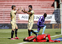 RIONEGRO-COLOMBIA, 08-10-2020: Cristian Marrugo de Rionegro Aguilas Doradas celebra su segundo gol anotado a Patriotas Boyaca, durante partido de la fecha 12 entre Rionegro Aguilas Doradas y Patriotas Boyaca, por la Liga BetPlay DIMAYOR 2020-I, jugado en el estadio Alberto Giraldo de la ciudad de Rionegro. / Cristian Marrugo of Patriotas Boyaca, celebrates his second goal scored to Patriotas Boyaca, during a match of the 12th date between Rionegro Aguilas Doradas and Patriotas Boyaca for the BetPlay Dimayor Leguaje 2020-I, played at Alberto Giraldo stadium in Rionegro city. Photo: VizzorImage / Juan Augusto Cardona / Cont.