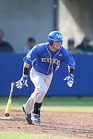 Riley Mahan (3) of the Kentucky Wildcats bats during a game against the UC Santa Barbara Gauchos at Caesar Uyesaka Stadium on March 20, 2015 in Santa Barbara, California. UC Santa Barbara defeated Kentucky, 10-3. (Larry Goren/Four Seam Images)